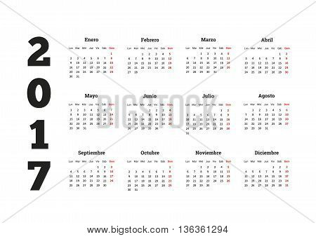 2017 year simple calendar in spanish isolated on white