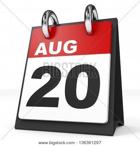 Calendar On White Background. 20 August.