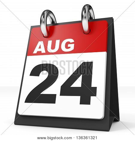 Calendar On White Background. 24 August.