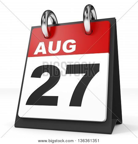 Calendar On White Background. 27 August.