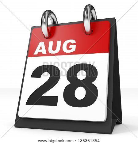 Calendar On White Background. 28 August.