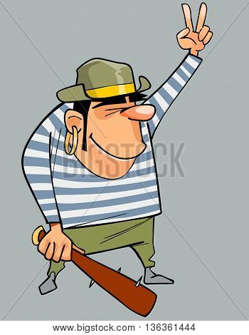 cartoon man in a pirate costume with baton shows gesture