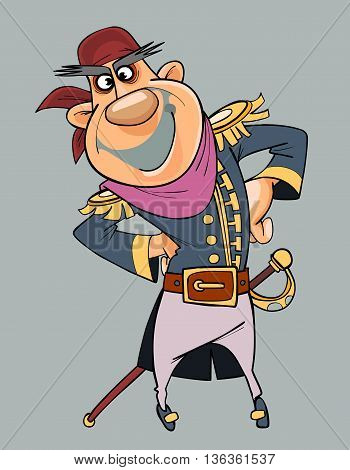 cartoon smiling man in clothes of pirate with saber