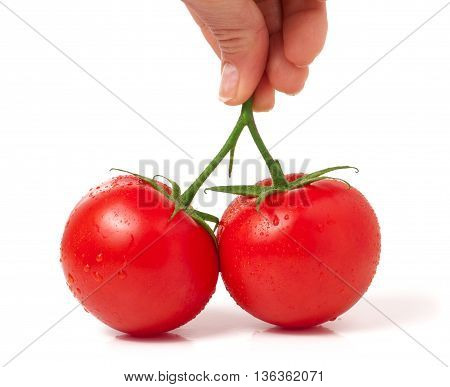 two red tomato in hand isolated on white background