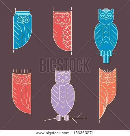 Linear owl logo set. Vector illustration with owl. Owl elements for design, print dress, a company logo, for websites, business card