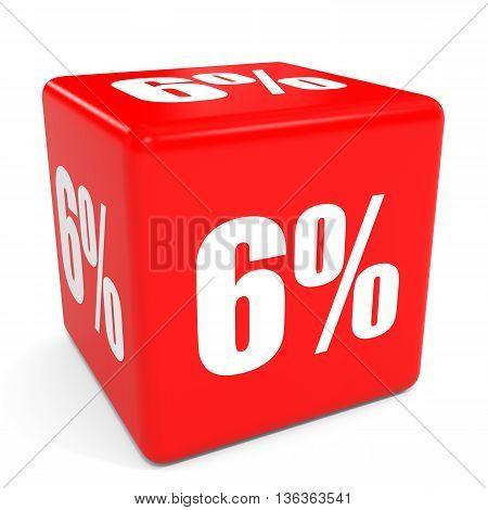 3D Red Sale Cube. 6 Percent Discount.