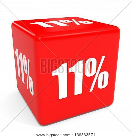 3D Red Sale Cube. 11 Percent Discount.