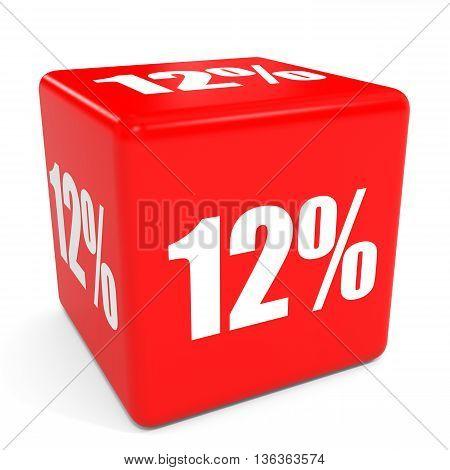 3D Red Sale Cube. 12 Percent Discount.