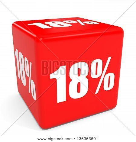3D Red Sale Cube. 18 Percent Discount.