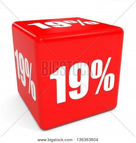 3D Red Sale Cube. 19 Percent Discount.
