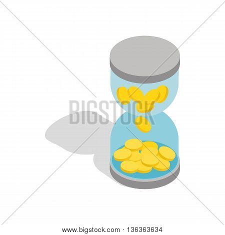 Time is money icon in isometric 3d style isolated on white background. Finance symbol