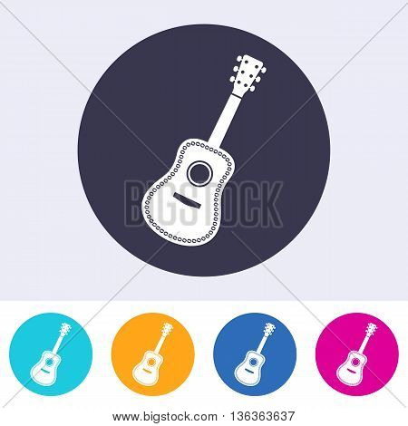 Vector acoustic guitar icon on round colorful buttons