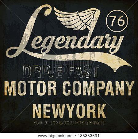 Motorcycle racing legendary typography t-shirt graphics vectors