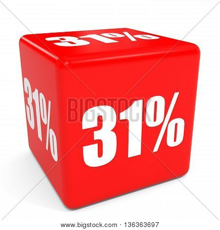 3D Red Sale Cube. 31 Percent Discount.