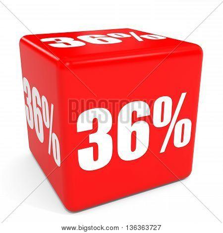 3D Red Sale Cube. 36 Percent Discount.