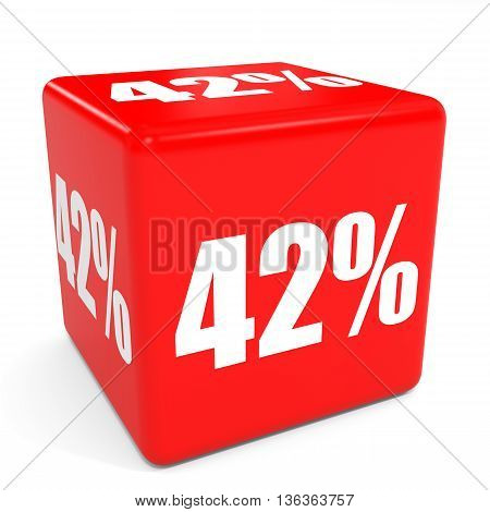 3D Red Sale Cube. 42 Percent Discount.