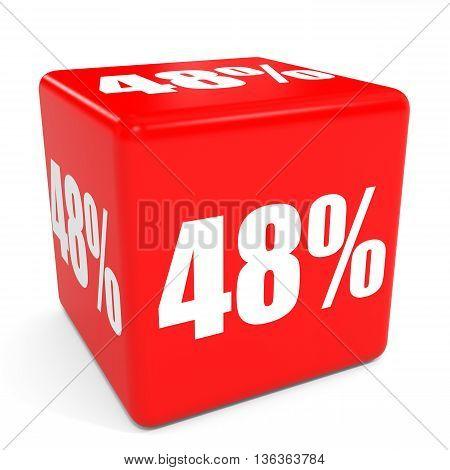 3D Red Sale Cube. 48 Percent Discount.