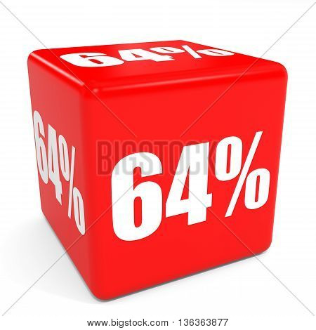 3D Red Sale Cube. 64 Percent Discount.