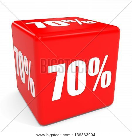 3D Red Sale Cube. 70 Percent Discount.