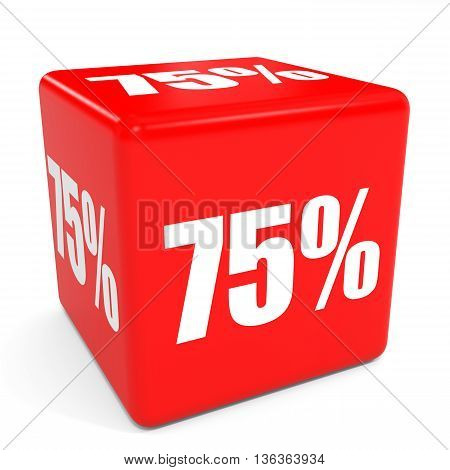 3D Red Sale Cube. 75 Percent Discount.