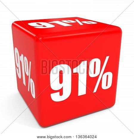 3D Red Sale Cube. 91 Percent Discount.