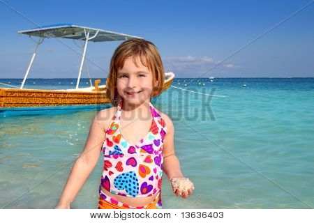 Blond Beach Little Girl Caribbean Vacation