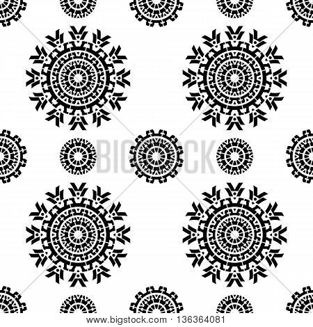 Seamless pattern with abstract ornamental round design elements