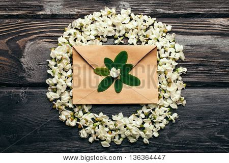 Envelope And Wreath Of Acacia