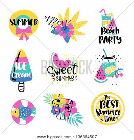 Summer vector elements collection. Colorful  hand drawn different items. Hand drawn lettering.