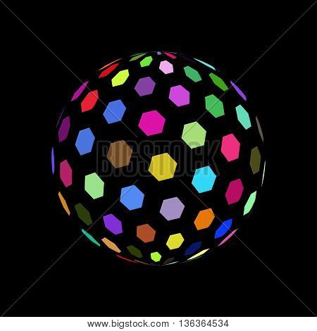 Abstract Sphere Element with Color Hexagon Pattern Envelope Isolated on Black Background