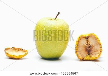 Dried And Fresh Apples Isolated On White