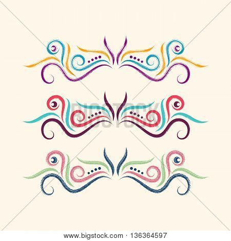 Colorful hand drawn ornamental dividers collection decorative elements