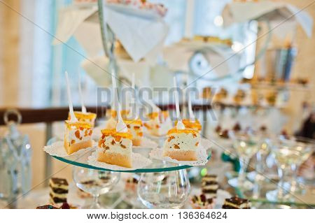 Wedding Reception, Table Of Cakes And Drink