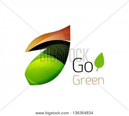 Abstract geometric leaf icon. illustration
