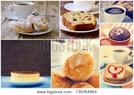 a collage of set pictures of different sweet food served with coffee or tea, such as a some spanish ensaimadas, a cheesecake, a chocolate mug cake, an apple pie or some muffins