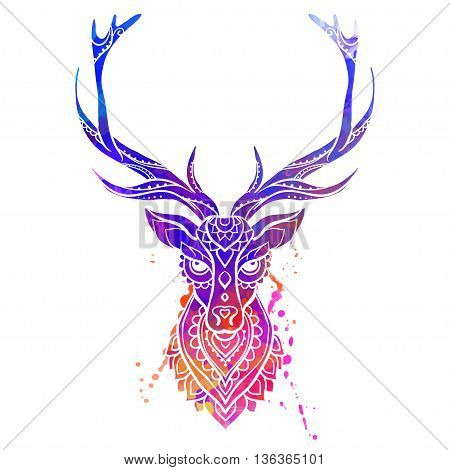 Ornament deer vector. Beautiful illustration deer  for design, print clothing, stickers, tattoos, Adult Coloring book. Hand drawn animal illustration. Watercolor deer lace