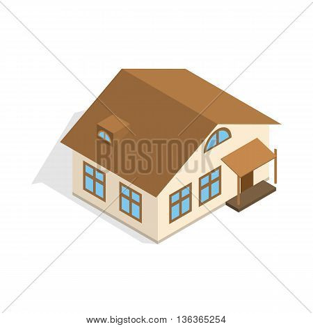 One storey house with porch icon in isometric 3d style isolated on white background. Construction symbol