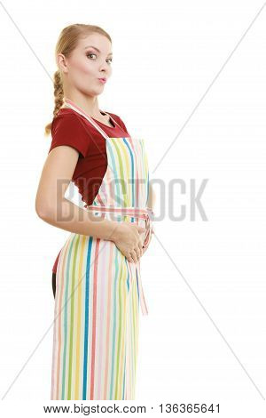 Funny housewife in striped kitchen apron or small business owner entrepreneur shop assistant isolated on white