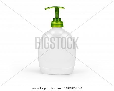 Plastic Bottle with liquid soap on a white background