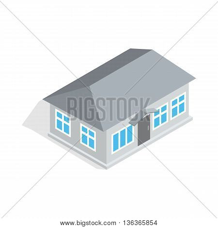 Gray house icon in isometric 3d style isolated on white background. Construction symbol