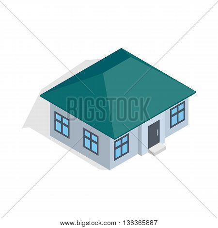 One storey house icon in isometric 3d style isolated on white background. Construction symbol
