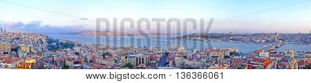 ISTANBUL TURKEY - JULY 26: Long Panorama of Istanbul on JULY 26 2006. Aerial Panoramic Cityscape of Istanbul Turkey.