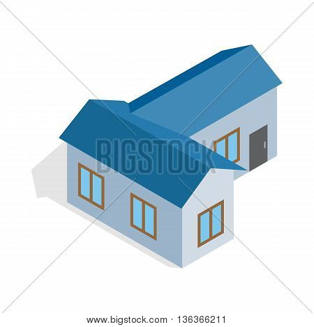 Blue house icon in isometric 3d style isolated on white background. Construction symbol