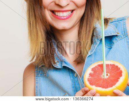 Summer Girl Tourist Holding Grapefruit Citrus Fruit