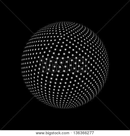 Abstract Sphere Element with Star Pattern Envelope Isolated on Black Background