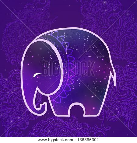 Greeting Beautiful card with Elephant Frame of animal in vector Elephant Illustration for design pattern textiles Hand drawn map with Elephant Use to print on t-shirts clothing texture web site design.