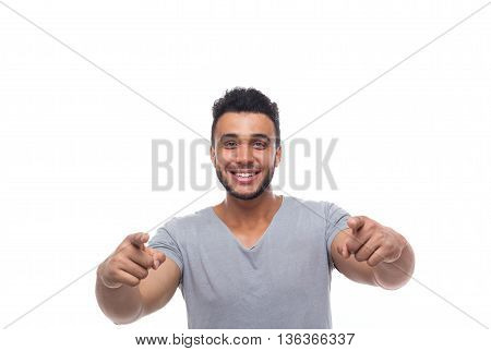 Casual Man Point Finger At You Happy Smile Young Handsome Guy Wear Shirt Isolated White Background