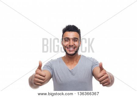 Casual Man Hold Thumb Up Happy Smile Young Handsome Guy Wear Shirt Isolated White Background