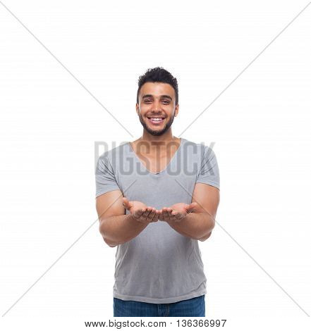 Casual Man Open Palms Gesture Happy Smile Young Handsome Guy Wear Shirt Jeans Isolated White Background