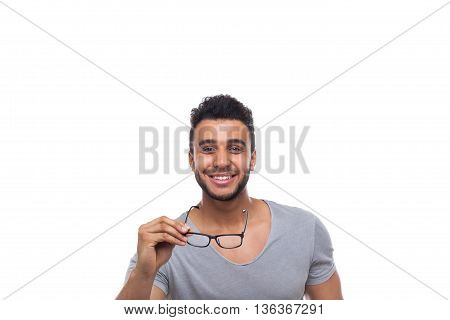 Casual Man Hold Eye Glasses Young Businessman Happy Smile Handsome Guy Student Wear Shirt Jeans Isolated White Background
